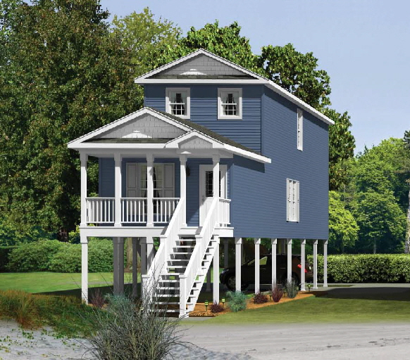Coastal shore homes modular homes designed for new for Lake house plans on stilts