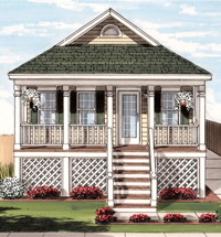 Bayside1 Ranch Exterior Artists Rendering Modular Home By Patriot